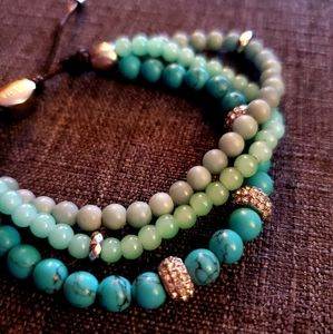 Fossil Leather turquoise bead bracelet